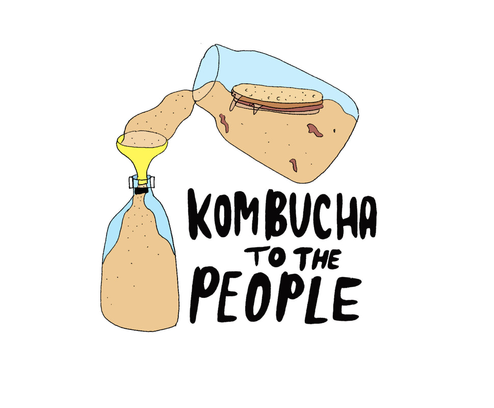 illustration of kombucha to the people logo with two jars of kombucha with scoby